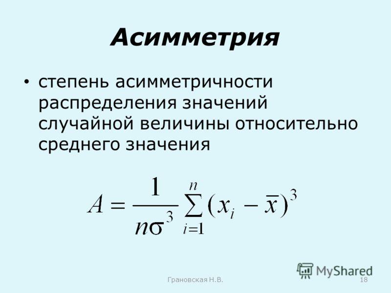 Асимметрия степень асимметричности распределения значений случайной величины относительно среднего значения Грановская Н.В.18