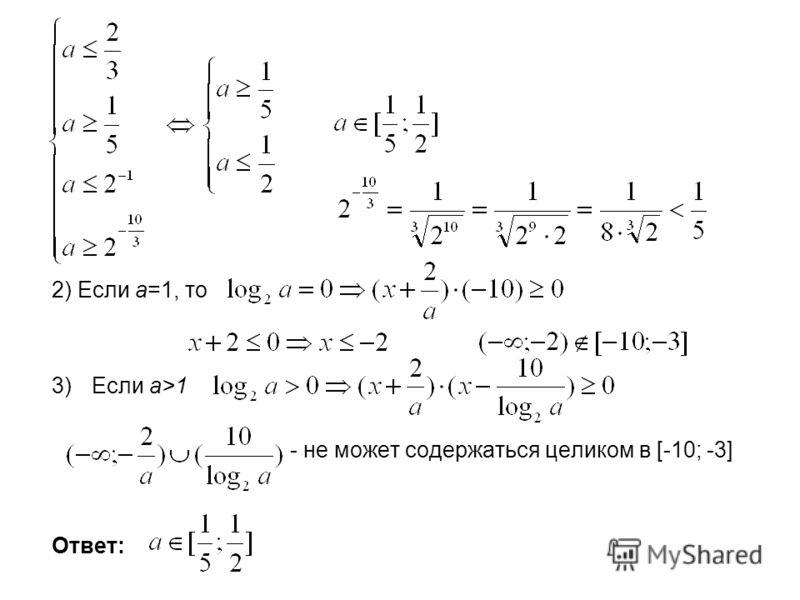 2) Если а=1, то 3)Если a>1 - не может содержаться целиком в [-10; -3] Ответ: