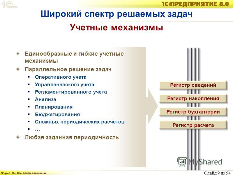 Слайд 9 из 54 Учетные механизмы Единообразные и гибкие учетные механизмы Параллельное решение задач Оперативного учета Управленческого учета Регламентированного учета Анализа Планирования Бюджетирования Сложных периодических расчетов … Любая заданная