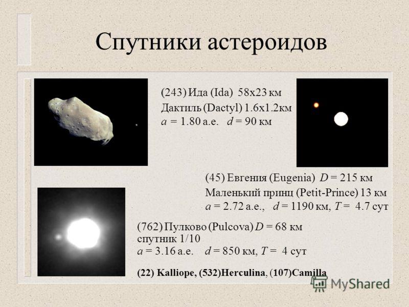 Спутники астероидов ( (243) Ида (Ida) 58х23 км Дактиль (Dactyl) 1.6х1.2км a = 1.80 а.е. d = 90 км (45) Евгения (Eugenia) D = 215 км Маленький принц (Petit-Prince) 13 км a = 2.72 а.е., d = 1190 км, Т = 4.7 сут ) (762) Пулково (Pulcova) D = 68 км спутн
