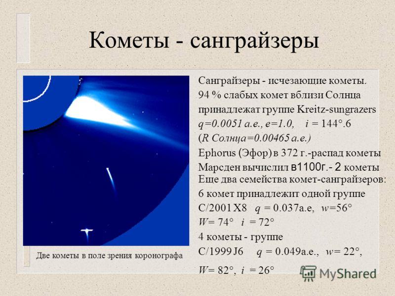 Кометы - санграйзеры Санграйзеры - исчезающие кометы. 94 % слабых комет вблизи Солнца принадлежат группе Kreitz-sungrazers q=0.0051 а.е., е=1.0, i = 144.6 (R Солнца=0.00465 а.е.) Ephorus ( Эфор) в 372 г.-распад кометы Марсден вычислил в1100г.- 2 коме