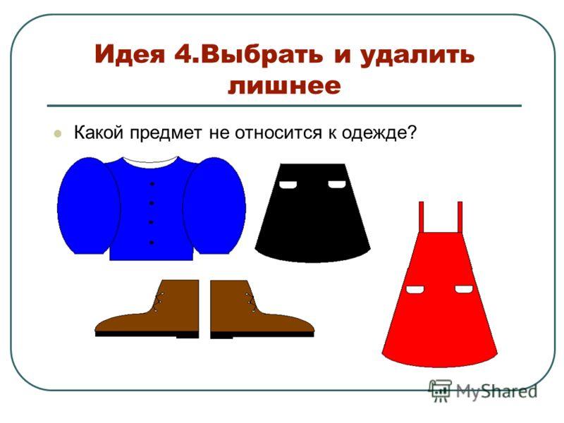 Идея 4.Выбрать и удалить лишнее Какой предмет не относится к одежде?