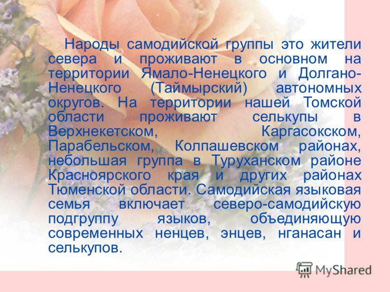 Народы самодийской группы это жители севера и проживают в основном на территории Ямало-Ненецкого и Долгано- Ненецкого (Таймырский) автономных округов. На территории нашей Томской области проживают селькупы в Верхнекетском, Каргасокском, Парабельском,