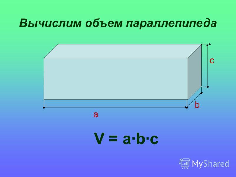 Вычислим объем параллепипеда V = abc a b c
