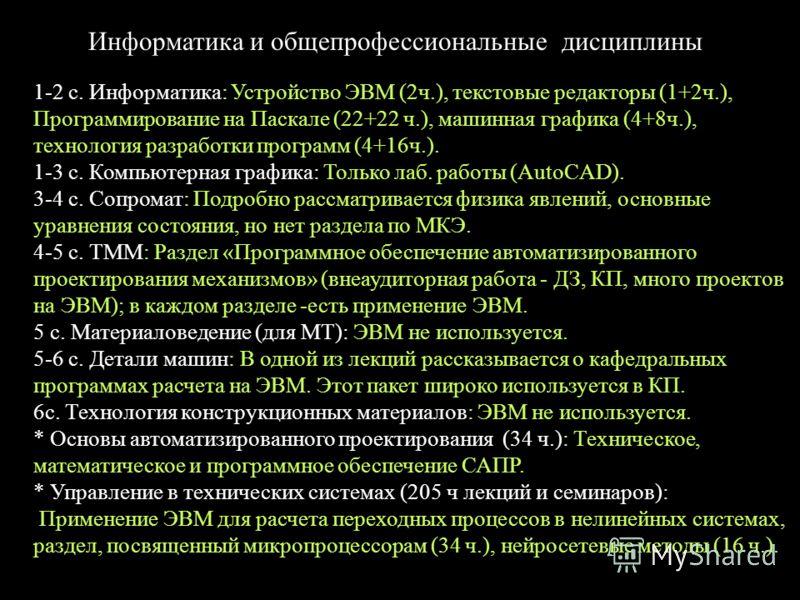 Информатика и общепрофессиональные дисциплины 1-2 с. Информатика: Устройство ЭВМ (2ч.), текстовые редакторы (1+2ч.), Программирование на Паскале (22+22 ч.), машинная графика (4+8ч.), технология разработки программ (4+16ч.). 1-3 с. Компьютерная график