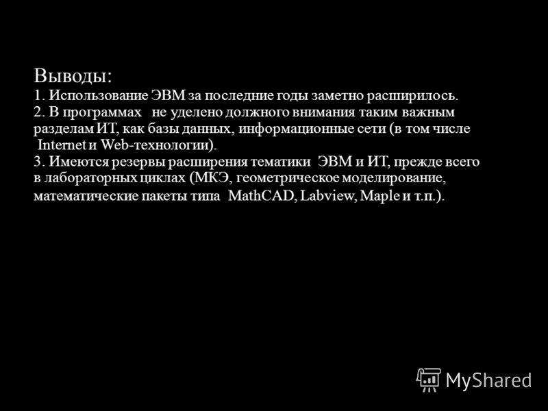 Выводы: 1. Использование ЭВМ за последние годы заметно расширилось. 2. В программах не уделено должного внимания таким важным разделам ИТ, как базы данных, информационные сети (в том числе Internet и Web-технологии). 3. Имеются резервы расширения тем