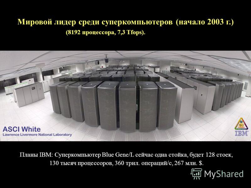 Мировой лидер среди суперкомпьютеров (начало 2003 г.) (8192 процессора, 7,3 Tfops). Планы IBM: Суперкомпьютер Blue Gene/L сейчас одна стойка, будет 128 стоек, 130 тысяч процессоров, 360 трил. операций/с, 267 млн. $.