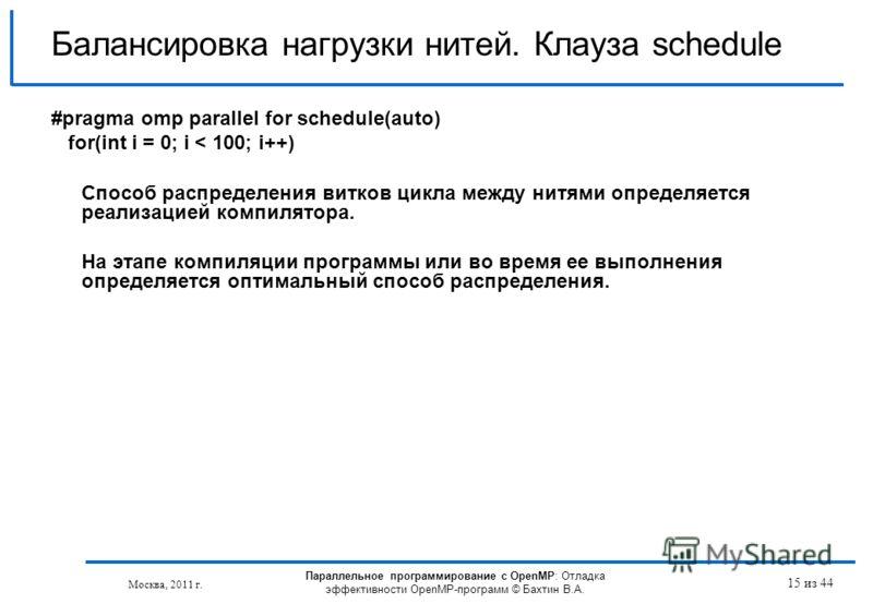 Параллельное программирование с OpenMP: Отладка эффективности OpenMP-программ © Бахтин В.А. Москва, 2011 г. 15 из 44 Балансировка нагрузки нитей. Клауза schedule #pragma omp parallel for schedule(auto) for(int i = 0; i < 100; i++) Способ распределени
