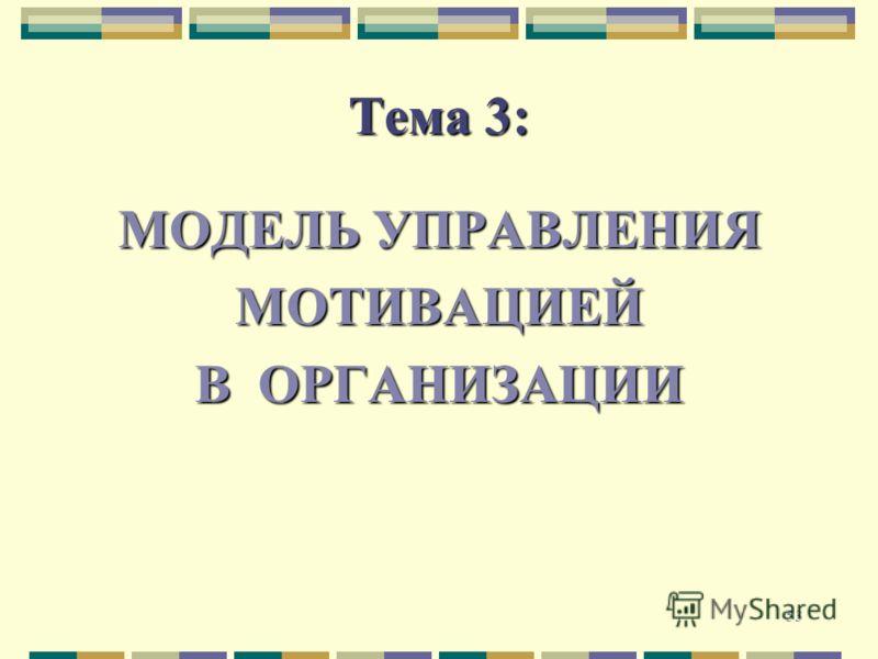 53 Тема 3: МОДЕЛЬ УПРАВЛЕНИЯ МОТИВАЦИЕЙ В ОРГАНИЗАЦИИ