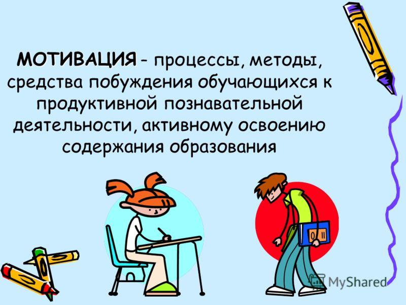 МОТИВАЦИЯ МОТИВАЦИЯ – процессы, методы, средства побуждения обучающихся к продуктивной познавательной деятельности, активному освоению содержания образования