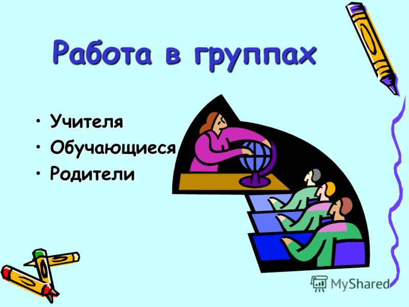 Работа в группах УчителяУчителя ОбучающиесяОбучающиеся РодителиРодители