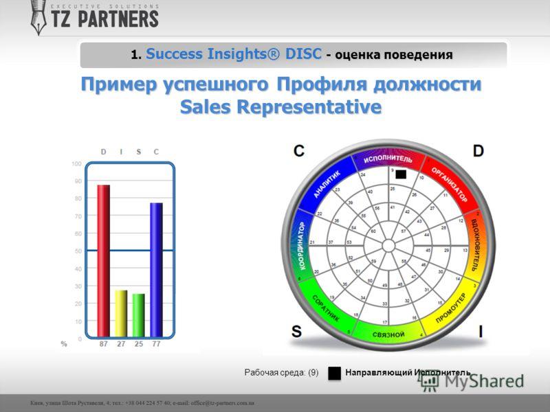 1. Success Insights® DISC - оценка поведения Пример успешного Профиля должности Sales Representative Рабочая среда: (9) Направляющий Исполнитель