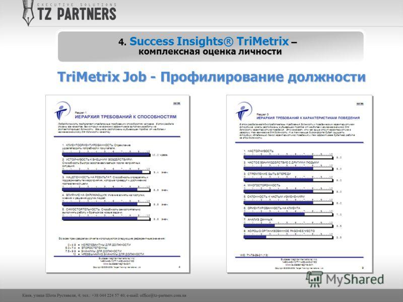 TriMetrix Job - Профилирование должности 4. Success Insights® TriMetrix – комплексная оценка личности
