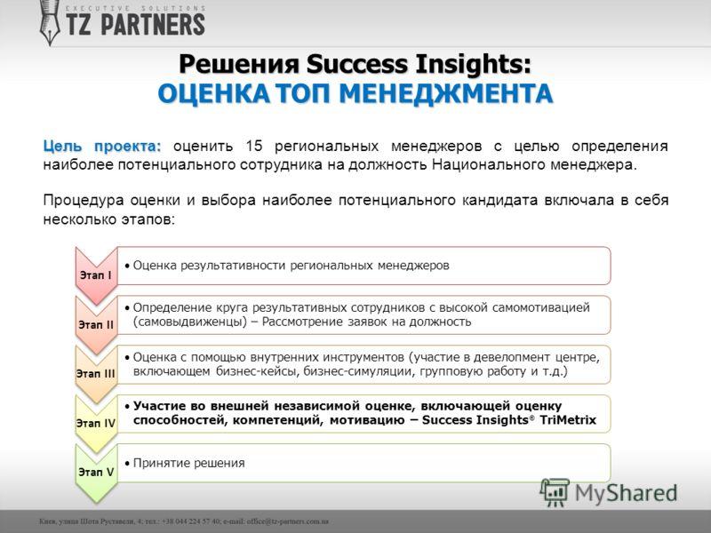 Решения Success Insights: ОЦЕНКА ТОП МЕНЕДЖМЕНТА Цель проекта: Цель проекта: оценить 15 региональных менеджеров с целью определения наиболее потенциального сотрудника на должность Национального менеджера. Процедура оценки и выбора наиболее потенциаль