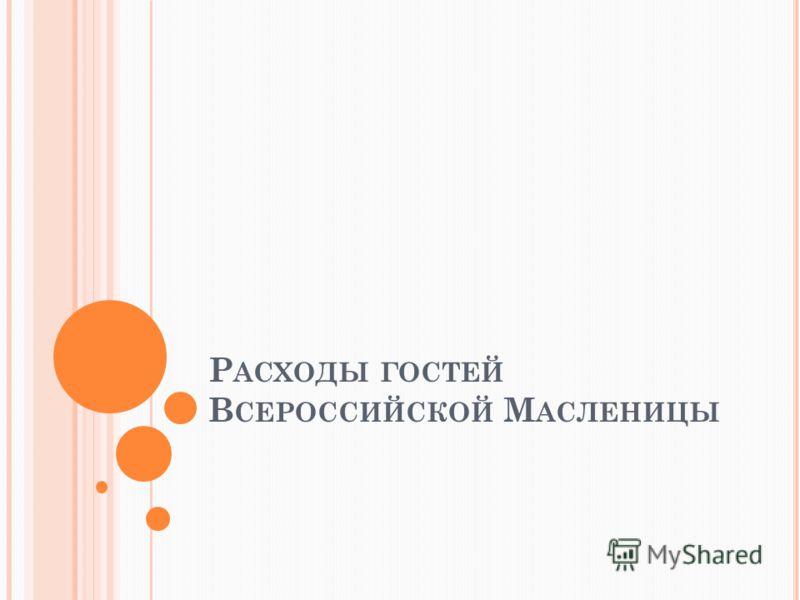 Р АСХОДЫ ГОСТЕЙ В СЕРОССИЙСКОЙ М АСЛЕНИЦЫ
