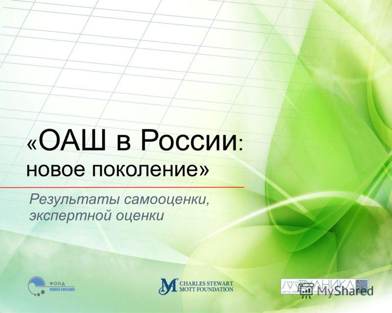 Результаты самооценки, экспертной оценки « ОАШ в России : новое поколение»