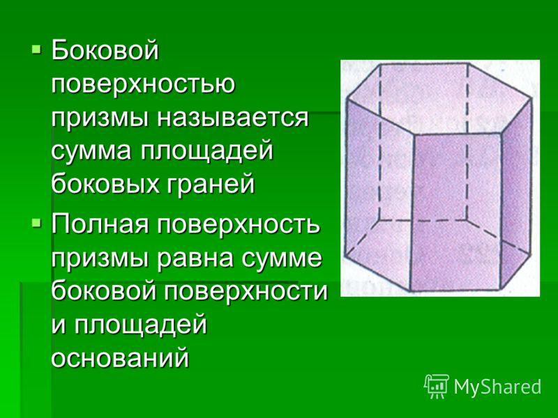 Боковой поверхностью призмы называется сумма площадей боковых граней Боковой поверхностью призмы называется сумма площадей боковых граней Полная поверхность призмы равна сумме боковой поверхности и площадей оснований Полная поверхность призмы равна с