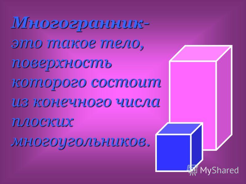Многогранник- это такое тело, поверхность которого состоит из конечного числа плоских многоугольников.