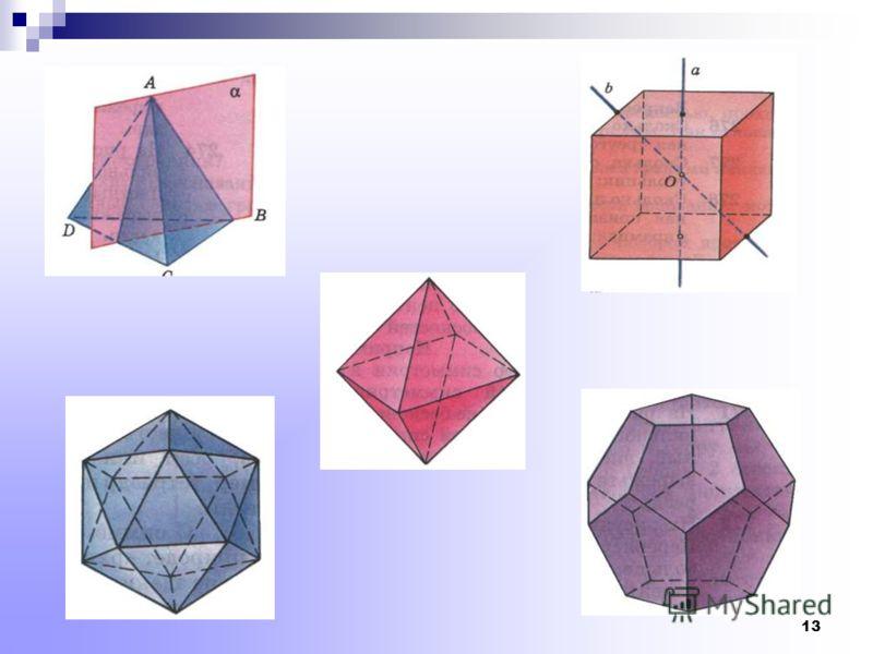 12 Элементы симметрии правильных многогранников тетраэдроктаэдрикосаэдргексаэдрдодекаэдр Центры симметрии -1111 Оси симметрии 39159 Плоскости симметрии 69159