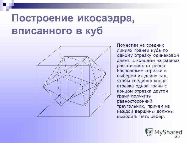 29 Описать около данного куба правильный октаэдр Через центры противоположных граней куба проведем прямые, которые пересекаются в точке О- центре куба- и являются взаимно перпендикулярными. На каждой из этих прямых по обе стороны от точки О отложим о