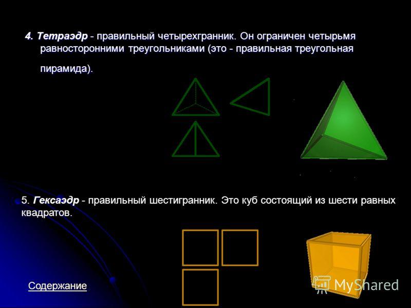 4. Тетраэдр - правильный четырехгранник. Он ограничен четырьмя равносторонними треугольниками (это - правильная треугольная пирамида). 5. Гексаэдр - правильный шестигранник. Это куб состоящий из шести равных квадратов. Содержание
