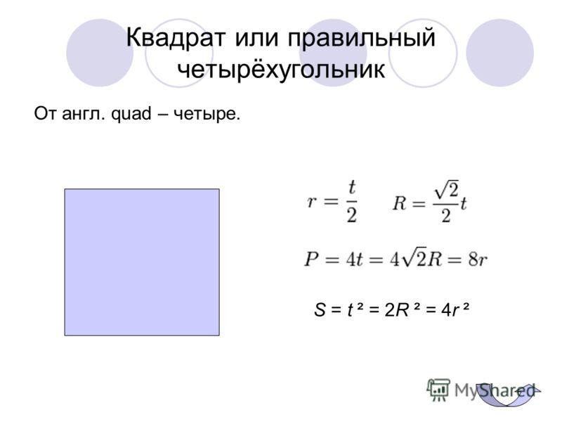 Квадрат или правильный четырёхугольник От англ. quad – четыре. S = t ² = 2R ² = 4r ²