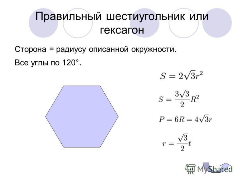 Правильный шестиугольник или гексагон Сторона = радиусу описанной окружности. Все углы по 120°.