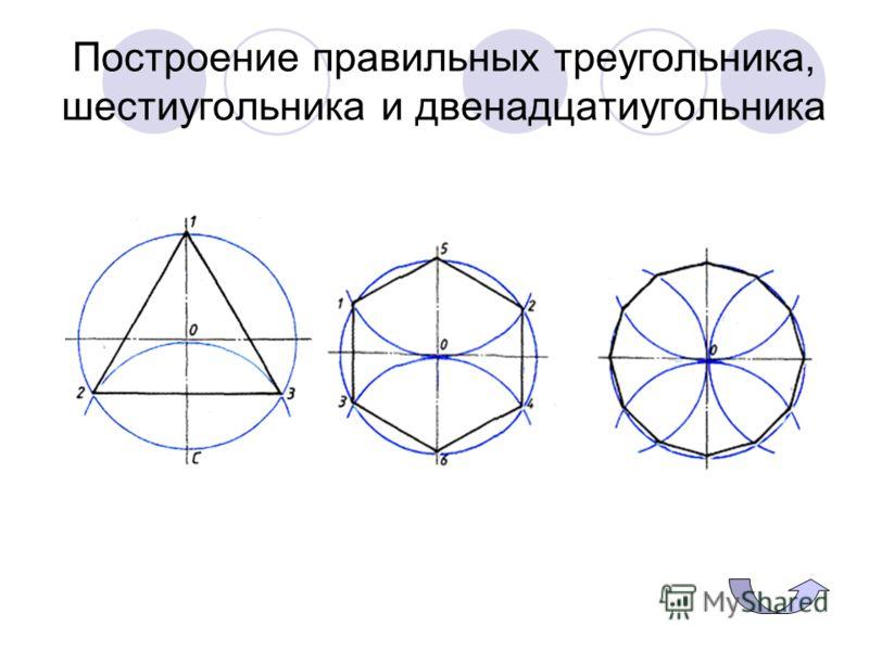 Построение правильных треугольника, шестиугольника и двенадцатиугольника