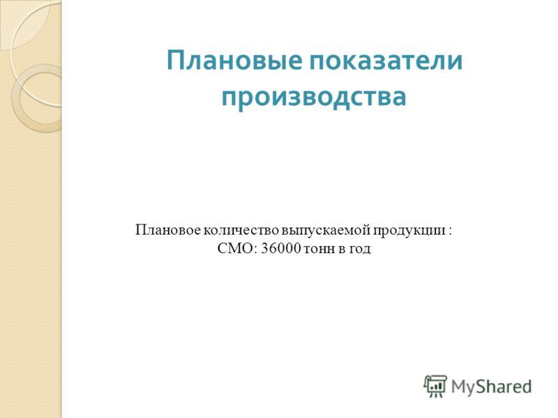 Плановые показатели производства Плановое количество выпускаемой продукции : СМО: 36000 тонн в год
