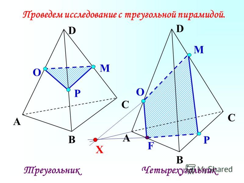 Р О М А В С D Проведем исследование с треугольной пирамидой. Р О М А В С D F ТреугольникЧетырехугольник X