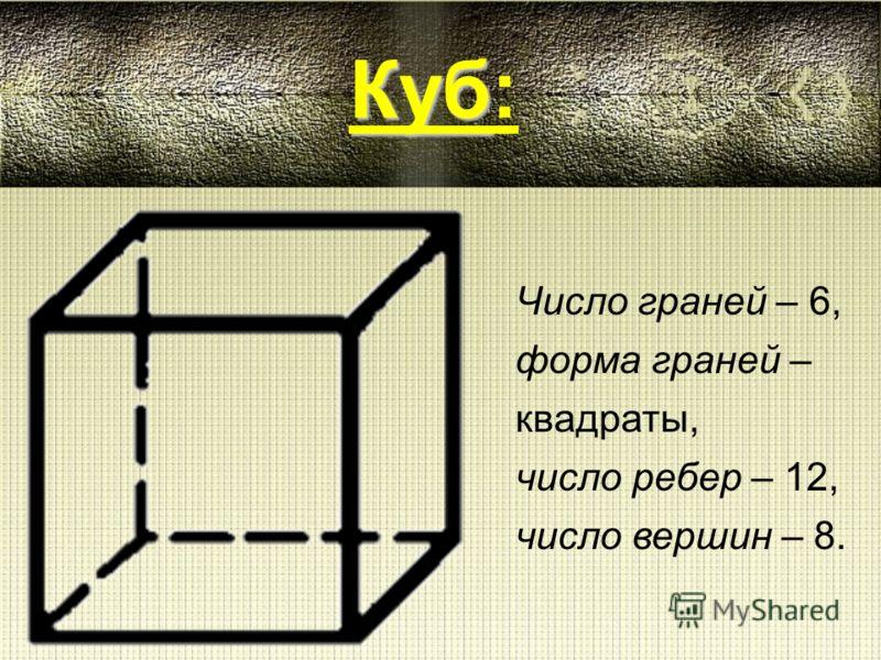 Число граней – 4, форма граней – треугольники, число ребер – 6, число вершин – 4. Тетраэдр Тетраэдр: