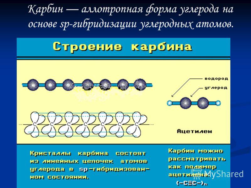 Карбин аллотропная форма углерода на основе sp-гибридизации углеродных атомов.