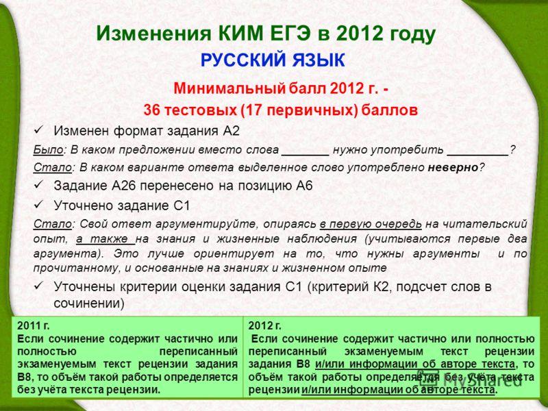 Изменения КИМ ЕГЭ в 2012 году 33 РУССКИЙ ЯЗЫК Минимальный балл 2012 г. - 36 тестовых (17 первичных) баллов Изменен формат задания А2 Было: В каком предложении вместо слова _______ нужно употребить _________? Стало: В каком варианте ответа выделенное