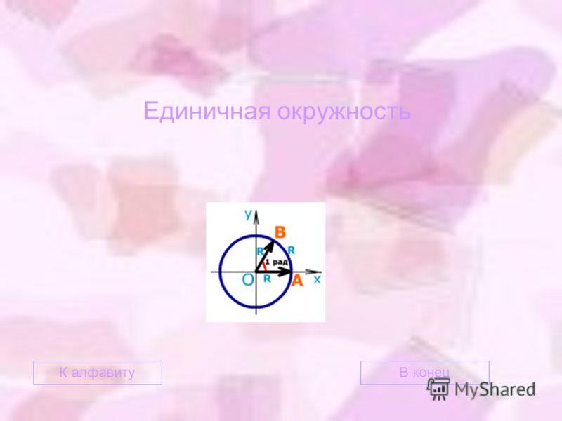 Единичная окружность В конецК алфавиту