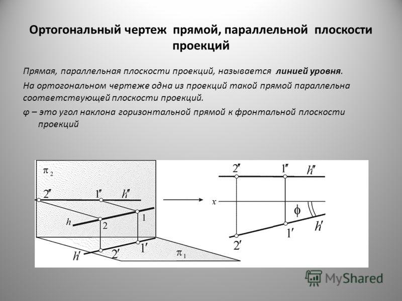 Ортогональный чертеж прямой, параллельной плоскости проекций Прямая, параллельная плоскости проекций, называется линией уровня. На ортогональном чертеже одна из проекций такой прямой параллельна соответствующей плоскости проекций. φ – это угол наклон