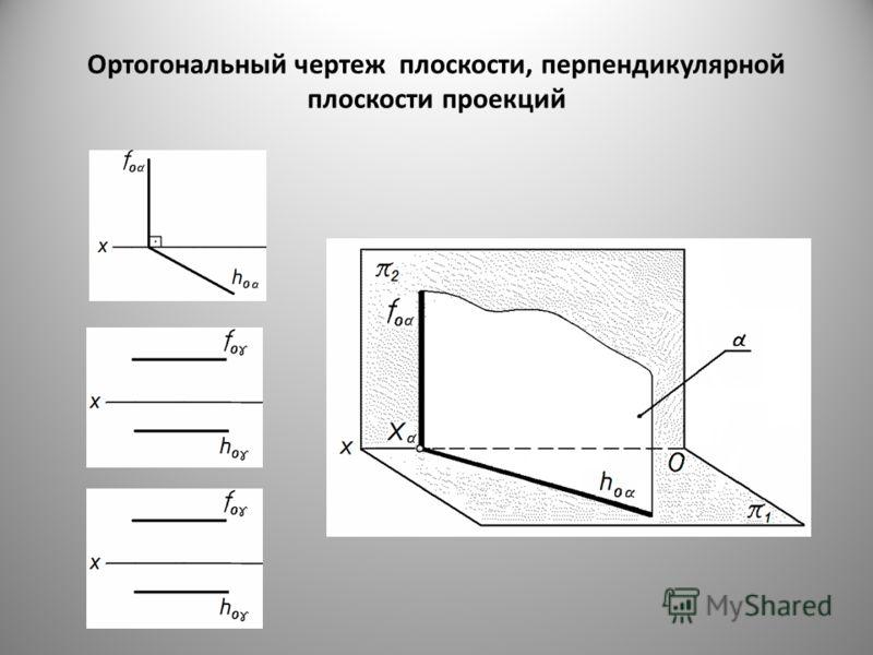 Ортогональный чертеж плоскости, перпендикулярной плоскости проекций