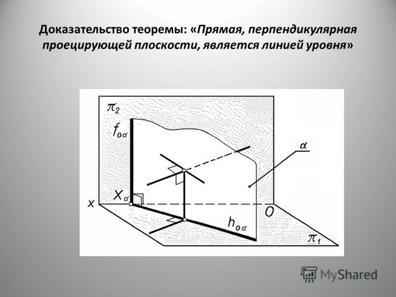 Доказательство теоремы: «Прямая, перпендикулярная проецирующей плоскости, является линией уровня»