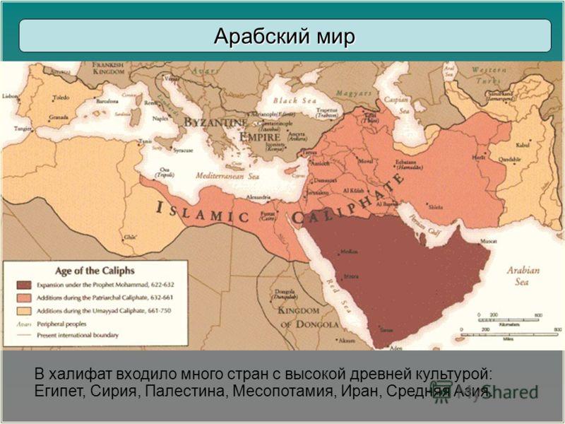В халифат входило много стран с высокой древней культурой: Египет, Сирия, Палестина, Месопотамия, Иран, Средняя Азия. Арабский мир