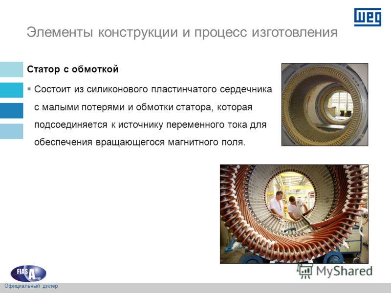 Статор с обмоткой Состоит из силиконового пластинчатого сердечника с малыми потерями и обмотки статора, которая подсоединяется к источнику переменного тока для обеспечения вращающегося магнитного поля. Элементы конструкции и процесс изготовления Офиц