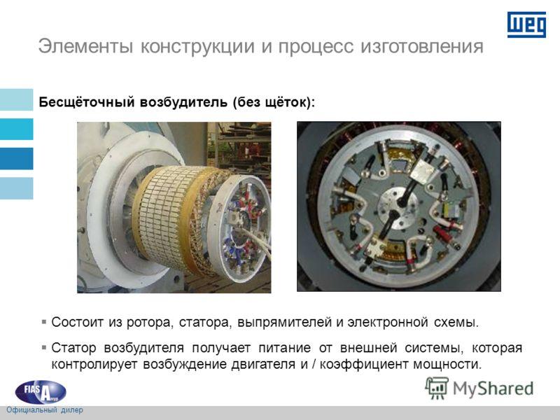 Бесщёточный возбудитель (без щёток): Состоит из ротора, статора, выпрямителей и электронной схемы. Статор возбудителя получает питание от внешней системы, которая контролирует возбуждение двигателя и / коэффициент мощности. Элементы конструкции и про