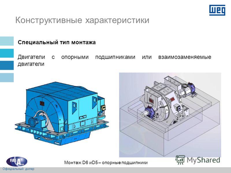 Конструктивные характеристики Специальный тип монтажа Двигатели с опорными подшипниками или взаимозаменяемые двигатели Монтаж D6 иD5 – опорные подшипники Официальный дилер