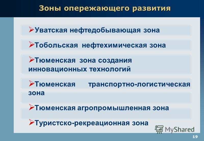 19 Уватская нефтедобывающая зона Тобольская нефтехимическая зона Тюменская зона создания инновационных технологий Тюменская транспортно-логистическая зона Тюменская агропромышленная зона Туристско-рекреационная зона Зоны опережающего развития