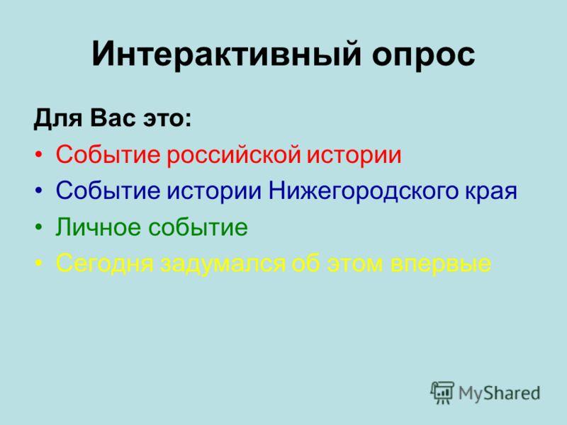 Интерактивный опрос Для Вас это: Событие российской истории Событие истории Нижегородского края Личное событие Сегодня задумался об этом впервые