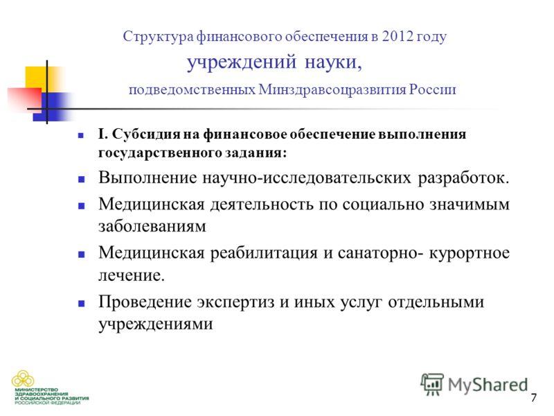 7 Структура финансового обеспечения в 2012 году учреждений науки, подведомственных Минздравсоцразвития России I. Субсидия на финансовое обеспечение выполнения государственного задания: Выполнение научно-исследовательских разработок. Медицинская деяте