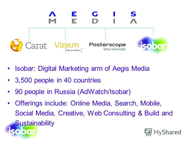 Isobar: Digital Marketing arm of Aegis Media 3,500 people in 40 countries 90 people in Russia (AdWatch/Isobar) Offerings include: Online Media, Search, Mobile, Social Media, Creative, Web Consulting & Build and Sustainability