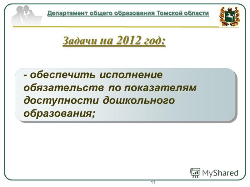 - обеспечить исполнение обязательств по показателям доступности дошкольного образования; Департамент общего образования Томской области Задачи на 2012 год: 11