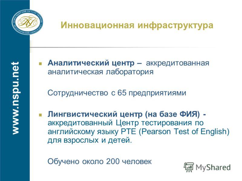 www.nspu.net Инновационная инфраструктура Аналитический центр – аккредитованная аналитическая лаборатория Сотрудничество с 65 предприятиями Лингвистический центр (на базе ФИЯ) - аккредитованный Центр тестирования по английскому языку РТЕ (Pearson Tes