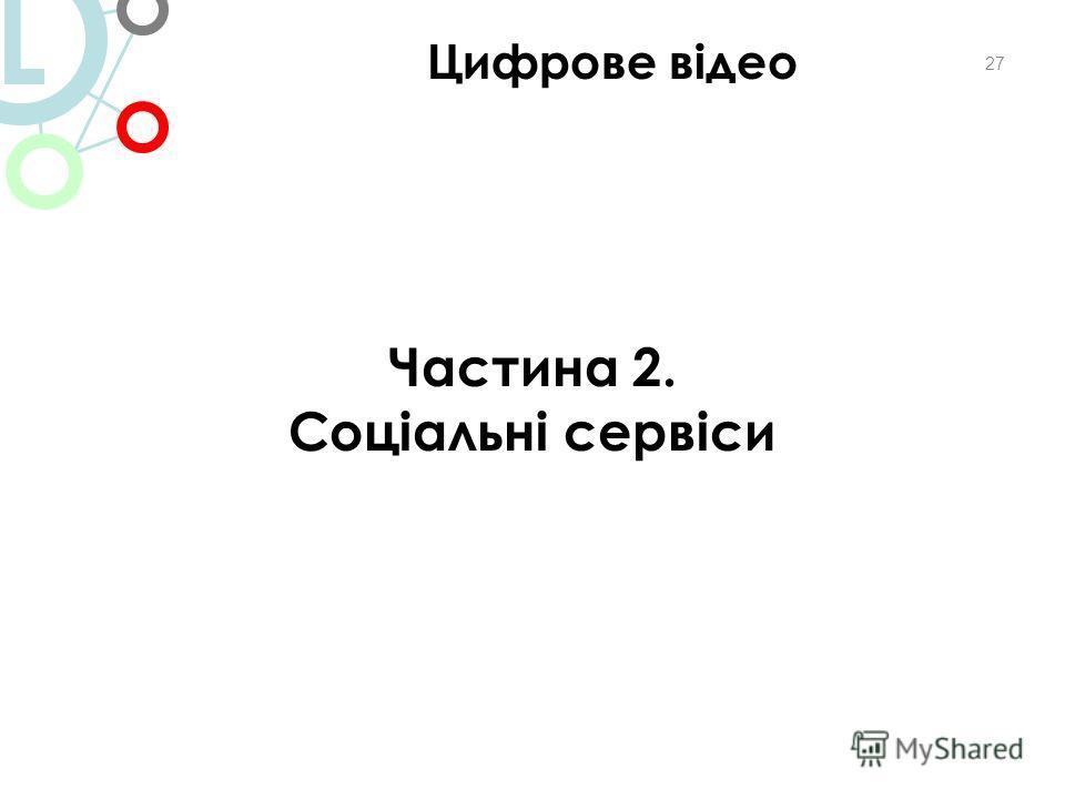 27 Частина 2. Соціальні сервіси Цифрове відео L