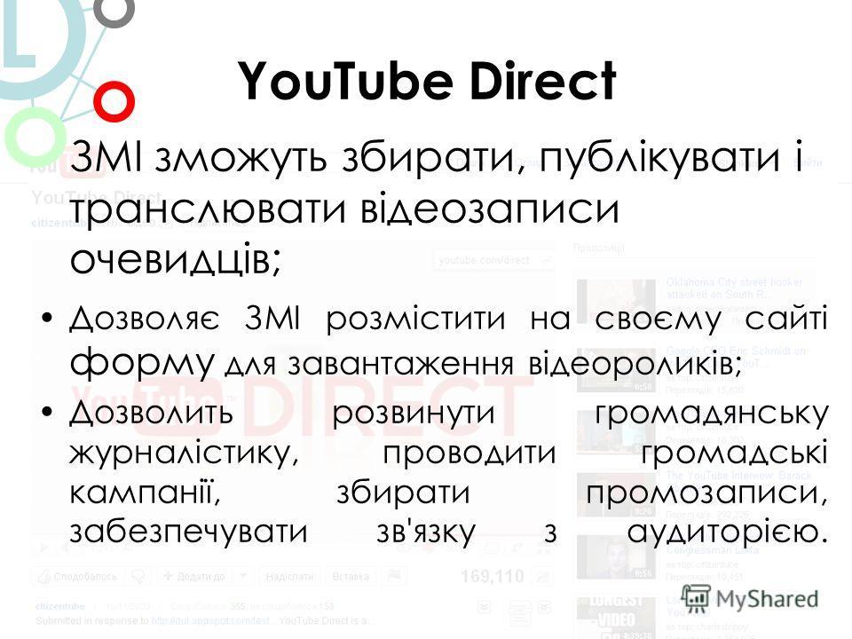 YouTube Direct ЗМІ зможуть збирати, публікувати і транслювати відеозаписи очевидців; Дозволяє ЗМІ розмістити на своєму сайті форму для завантаження відеороликів; Дозволить розвинути громадянську журналістику, проводити громадські кампанії, збирати пр