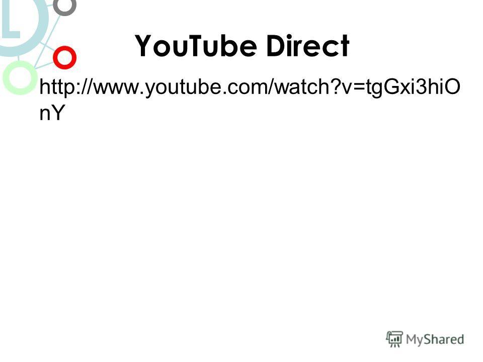 YouTube Direct http://www.youtube.com/watch?v=tgGxi3hiO nY L